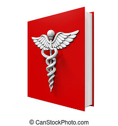 Medical Book with Caduceus Symbol isolated on white...