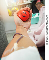 Blood donor in hospital.