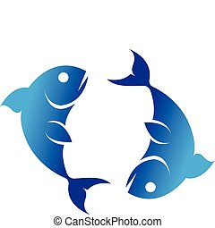 Color Zodiacs pisces - Zodiacs blue pisces isolated on white