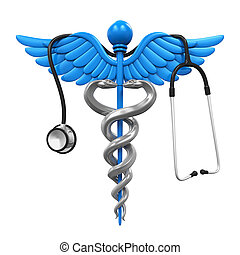 Caduceus Symbol and Stethoscope isolated on white...
