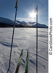 X-country ski winter sport - Cross country skiing. Skies and...