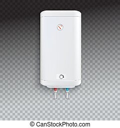 Electric water heater - White electric water heater with...