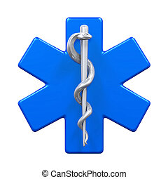 Star of Life Symbol isolated on white background. 3D render