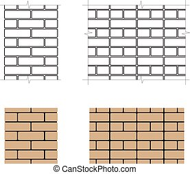 Two-row brick masonry - Vector two-row brick masonry