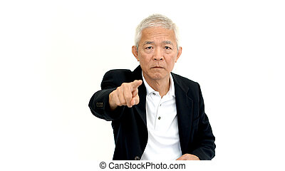 Asian senior business man wearing suit pointing with upset expression