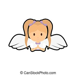 girl kid angel cartoon icon Isolated and flat illustration