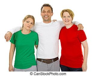 il portare, Persone, verde, camicie, vuoto, bianco, rosso