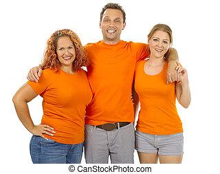 People wearing orange blank shirts
