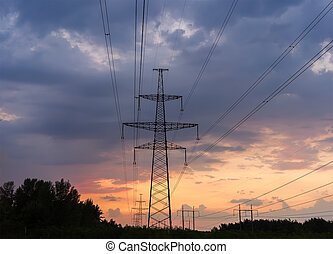 Power Line. pylon against a blue sky