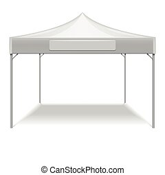 Realistic white outdoor folding party tent vector mockup
