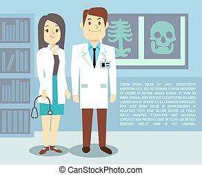 Doctor and hospital nurse vector healthcare medical concept background