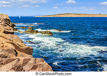 seascape with waves crashing the shore and island - Sea...