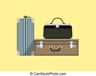 Travel bags cartoon colorful vector illustration