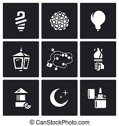 Vector Set of Lighting Icons Powersave lamp, Lumiere,...