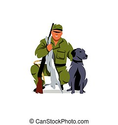 Vector Hunting. Hunter with prey. Cartoon Illustration. -...