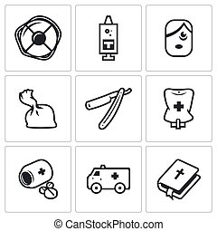 Vector Set of Drug Overdose Icons. Help, Dose, Addict,...