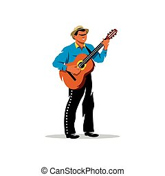 Latino musician with guitar Vector Cartoon Illustration - A...