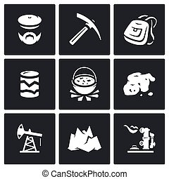 Vector Set of Geology Icons Geologist, Instrument, Journey,...