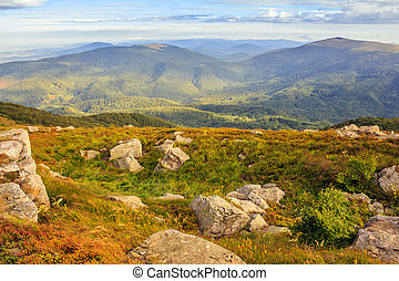 mountain landscape with stones in the grass on hillside and blue sky