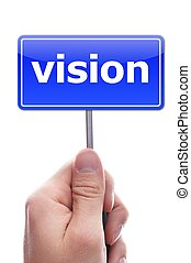 vision or future concept with hand word and paper