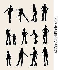 Roller Activity and Sport Silhouettes, art vector design