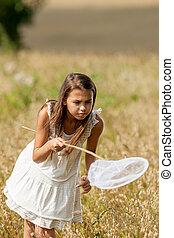 girl in white dress - girl in a white dress looks for...