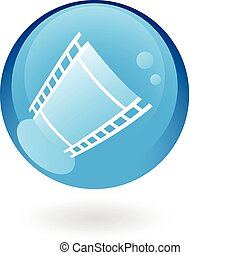 Blue film - film reel in blue glass button isolated on white