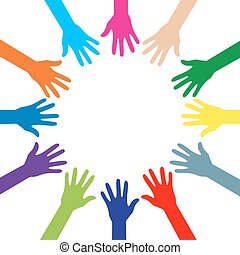 Colorful silhouettes of hands in a circle. Vector...
