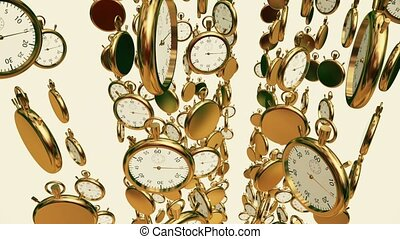 Sliding down stopwatches,chronometers in gold color on white