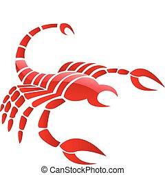 lustroso, vermelho, escorpião
