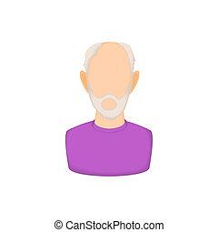 Avatar man with beard icon, cartoon style - Avatar man with...
