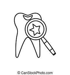 Tooth with magnifying glass icon, outline style - Tooth with...