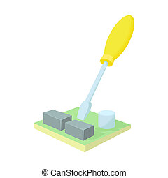 Motherboard repair icon, cartoon style - Motherboard repair...