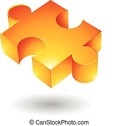 Yellow jigsaw - Glossy yellow jigsaw isolated on white