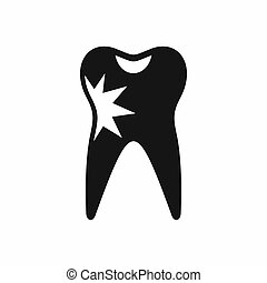 Cracked tooth icon, simple style - Cracked tooth icon in...