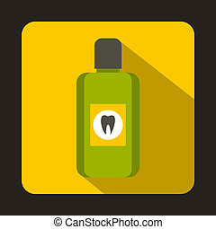 Bottle of green mouthwash icon, flat style - icon in flat...