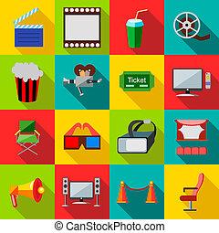 Cinema icons set, flat style - Cinema icons in flat style...