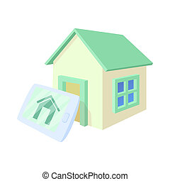 Smart home icon, cartoon style - Smart home icon in cartoon...