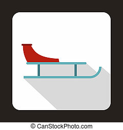 Sled icon in flat style - icon in flat style on a white...