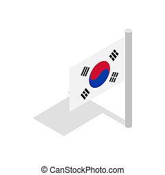 Flag of South Korea icon, isometric 3d style - Flag of South...