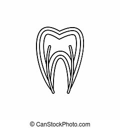 Tooth cross section icon, outline style - Tooth cross...