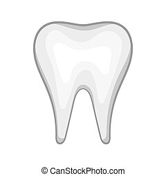 White tooth icon in cartoon style - icon in cartoon style on...