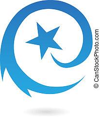 azul, redondo, disparando, estrella