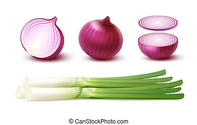 Vector Set of Fresh Whole and Sliced Red Onion Bulbs with...