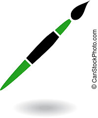 School objects paintbrush - Green and black paintbrush...