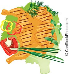 bright juicy grilled chicken on a lettuce leaf, vector...