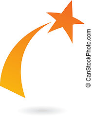 Orange Shooting star - Orange shooting star isolated on...