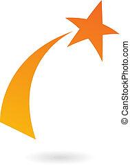 apelsin, skjutning, stjärna