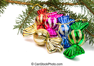 Christmas tree toy candy on a white background