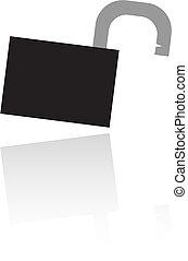 Open black padlock isolated on white background